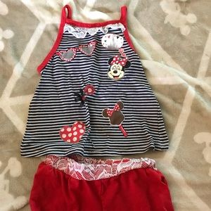 2T Minnie Mouse Red Striped Tank top & Shorts Set